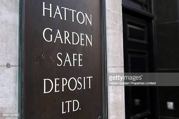 Sign outside the building housing the underground vault of the Hatton Garden Safe Deposit Company which was raided in what has been called the...