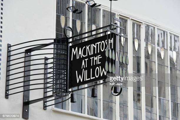 A sign outside the Charles Rennie Mackintosh designed Willow Tea Rooms in Sauchiehall Street just a short distance from the Glasgow School of Art...