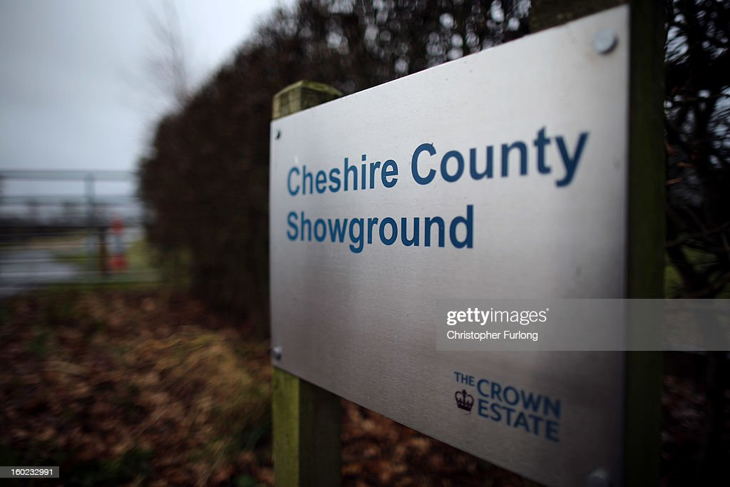 A sign outside the Cheshire County Show Ground where the proposed route of the new HS2 high speed rail link will pass through near to the village of Pickmere on January 28, 2013 in Knutsford, United Kingdom. The government has today released details of the next phase of the GBP 32 billion HS2 high-speed rail network, which will link Manchester and Leeds.