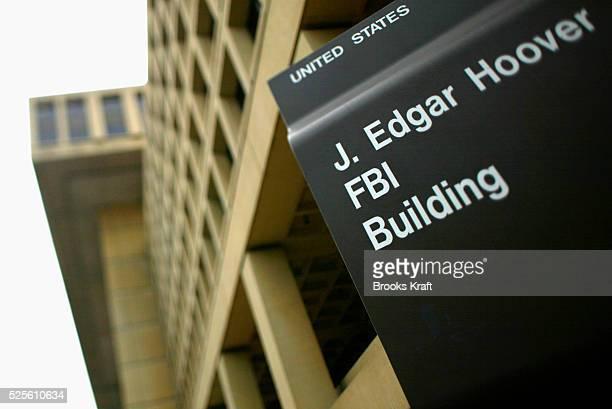 Sign outside the J Edgar Hoover FBI Building in Washington DC