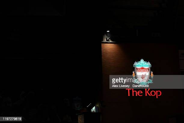 A sign outside The Kop is seen at Anfield prior to the Premier League match between Liverpool FC and Sheffield United at Anfield on January 02 2020...