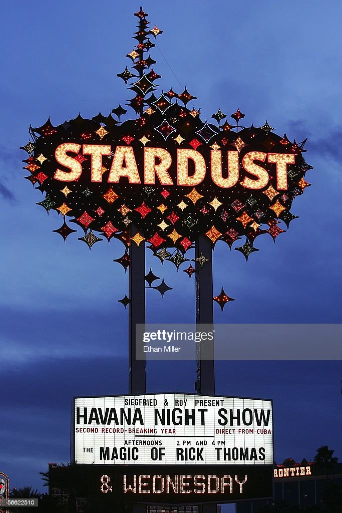 A sign outside the Stardust Resort & Casino is lighted January 18, 2006 in Las Vegas, Nevada. Boyd Gaming Corp. has announced that the Stardust will be torn down and replaced with a $4 billion hotel, casino, convention and retail development called Echelon Place on the 63 acres of land on the Las Vegas Strip.