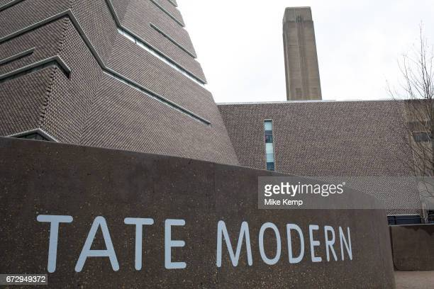 Sign outside the Tate Modern Switch House on March 31st 2017 in London United Kingdom Tate Modern is a modern art gallery located in London It is...