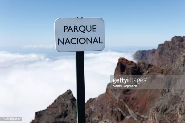 sign, --parque nacional--, caldera de taburiente national park, la palma, canary islands, spain - caldera stock pictures, royalty-free photos & images