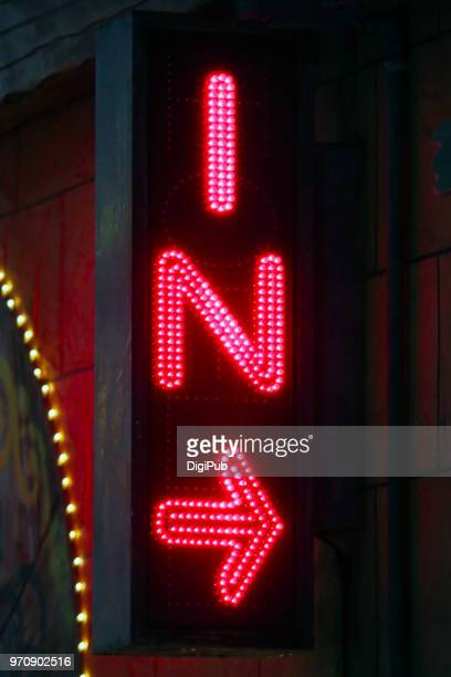 led sign - neon letters stock photos and pictures