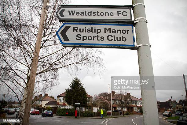 A sign pointing supporters to St Georges Stadium home ground of Wealdstone FC before the club played host to Newport County in the semifinal second...