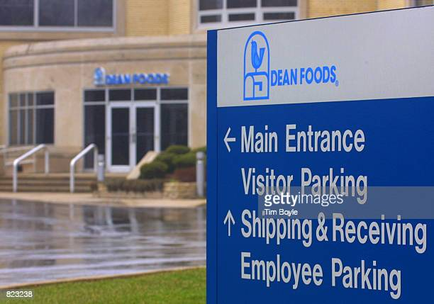 A sign pointing the direction to Dean Foods'' main entrance is visible April 6 2001 in front of their Franklin Park IL corporate headquarters In a...