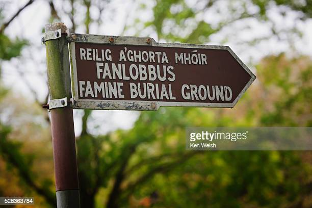 Sign Pointing To Famine Burial Ground Near Dunmanway; County Cork Ireland