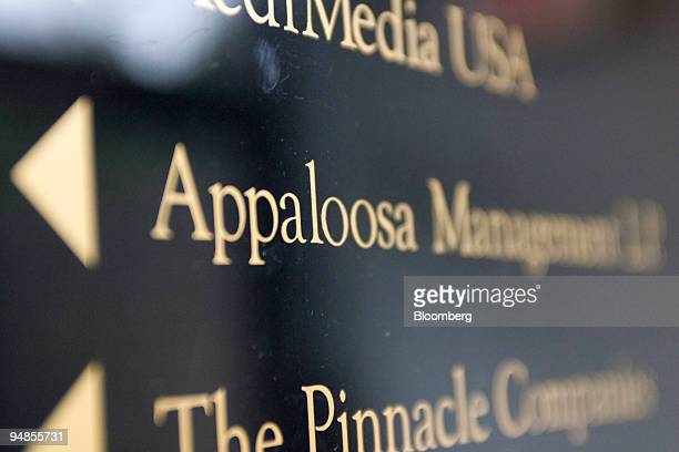 A sign points the direction to the offices of Appaloosa Management LP in Chatham New Jersey US on Friday April 4 2008 Delphi Corp's exit from...