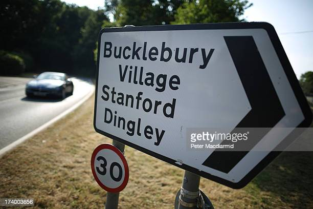 A sign points the way to Bucklebury Village home to the family of The Duchess of Cambridge on July 18 2013 in Bucklebury England The United Kingdom...