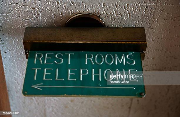 A sign points the way to the Rest Rooms and Telephone at the Howard Johnson's in Bangor Maine on Aug 31 2016 The last Howard Johnson's restaurant in...