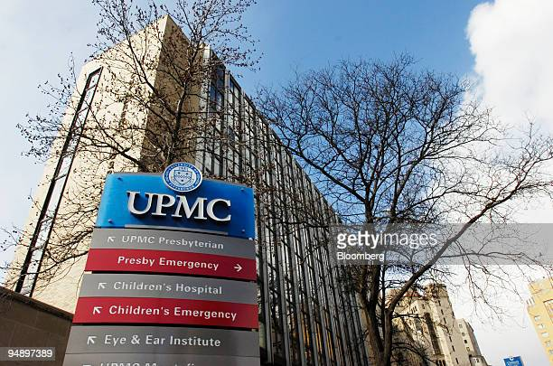 A sign points to areas on the University of Pittsburgh Medical Center campus in Pittsburgh Pennsylvania US on Tuesday Feb 9 2008 The University of...