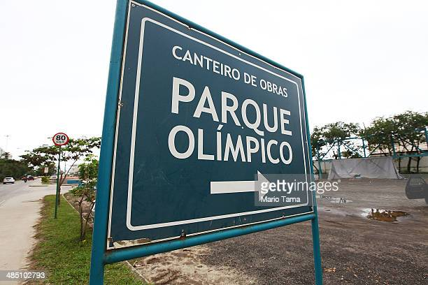 A sign points to the entrance to Olympic Park the primary set of venues being built for the Rio 2016 Olympic Games on April 16 2014 in Rio de Janeiro...