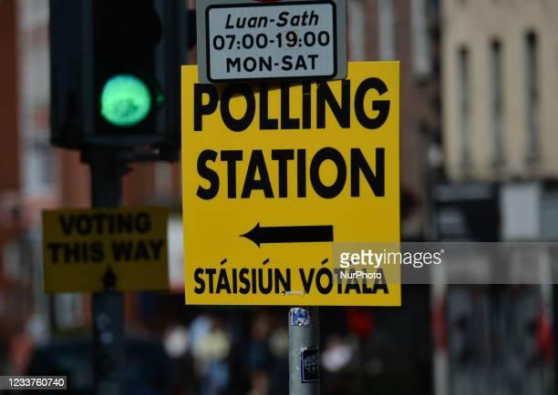 Sign 'Polling Station' seen in Dublin center. On Thursday, 01 July 2021, in Dublin, Ireland.