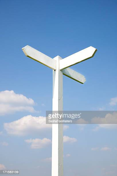 sign post against blue sky