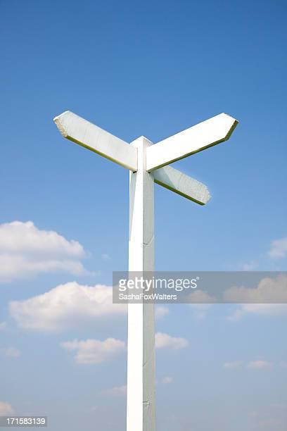 Schild gegen blauen Himmel
