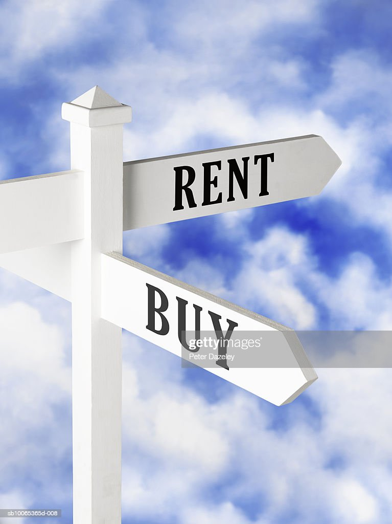 Sign post displaying rent or buy choices : Foto stock