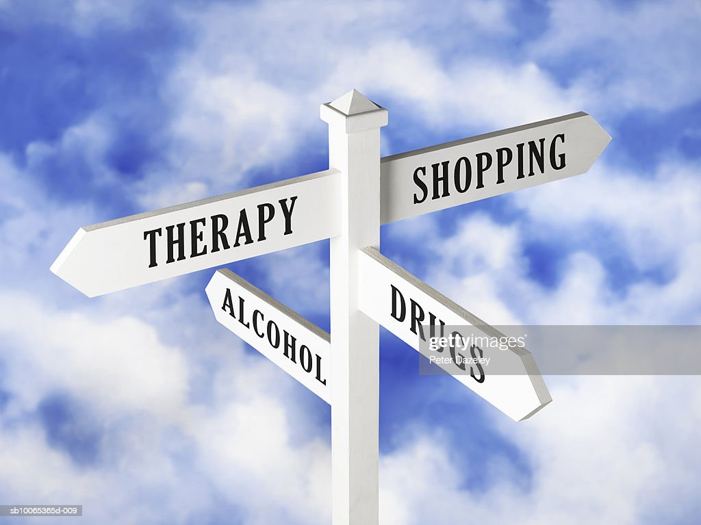 Sign post displaying various choices against cloudy sky : Foto stock