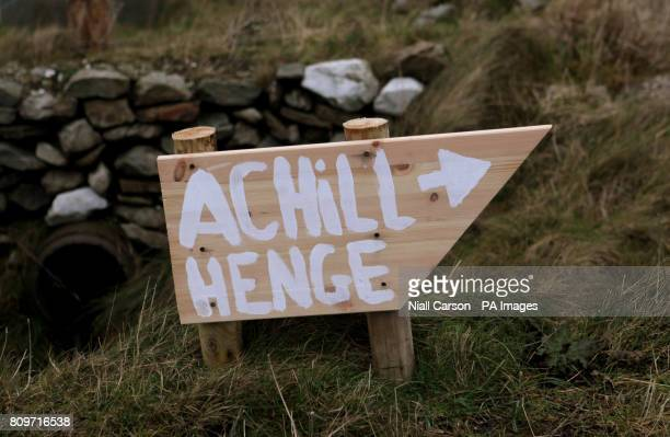 A sign post for the site dubbed AchillHenge on Achill Island Co Mayo where people gathered this morning to watch the Winter Solstice