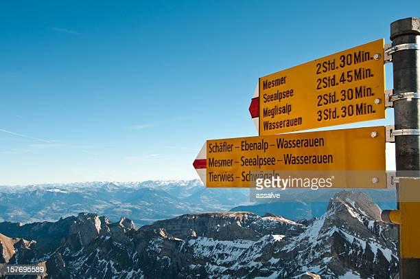 Wegweiser der mountain Säntis, Schweiz