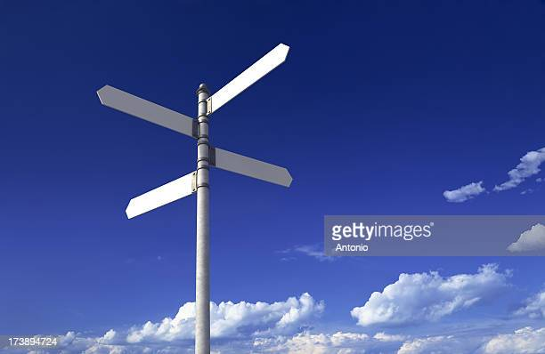 Sign post with four blank signs on a blue sky