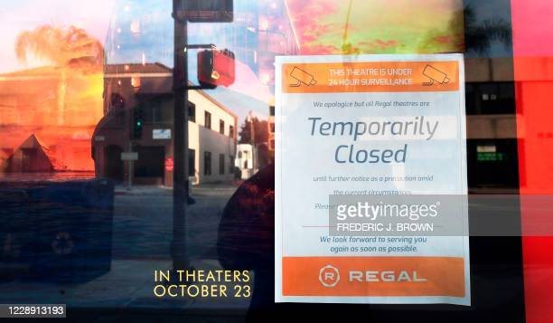 Sign posted announces temporary closure at the Regal Edwards Alhambra Rennaissance Theater on October 5, 2020 in Alhambra, California. - Regal...