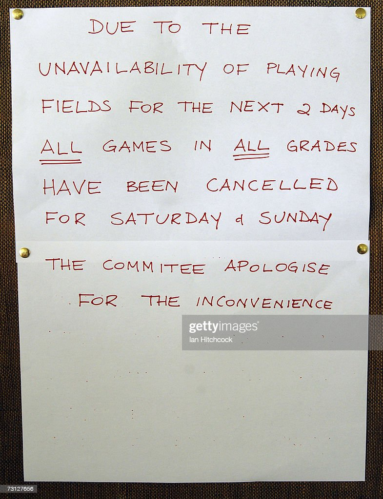 A sign posted in the Goldfield Ashes office advising teams that days 2 and 3 of the three day cricket carnival has been washout due to overnight rain January 27, 2007 in Charters Towers, Australia. Every Australia Day weekend the small outback town of Charters Towers in North Queensland hosts a cricket carnival named 'The Goldfield Ashes'. In 1949 the Charters Towers Cricket Association extended an invitation to six town to play on Foundation Day. From those six teams the carnival has grown to a record 194 teams competing in 2007, making it the largest carnival of its type in the world. The Goldfield Ashes swells the 8000 strong population of Charters Towers, near Townsville, by about 3000 and attracts teams of solicitors, engineers and television crews from as far as Brisbane. Matches are played on 58 different playing fields, including some which are privately owned. It is one of the few sporting carnivals which caters for players of all levels of ability