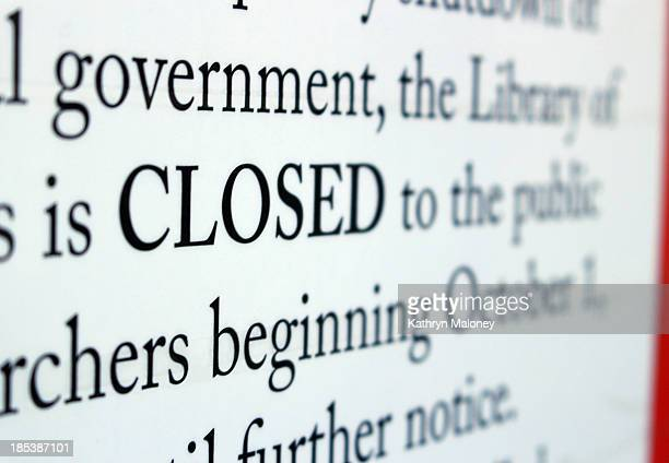 Sign posted outside of the Library of Congress, alterting visitors that the building is closed for the duration of the government shutdown.