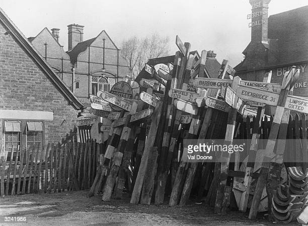 Sign posts removed from their positions in Kent to confound the enemy in the event of a German invasion
