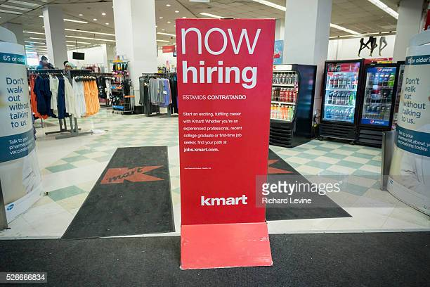 A sign prominently placed at the entrance of a KMart store in New York advertises that it is 'Now Hiring' seen on Thursday January 28 2016