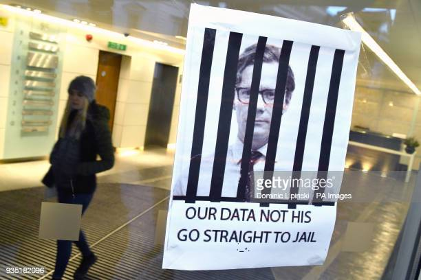 A sign put up by a protestor at the offices of Cambridge Analytica in central London as the data watchdog is to apply for a warrant to search...