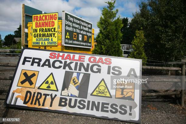 A sign put up by antifracking activists in New Preston Road July 01 2017 Lancashire United Kingdom 'Fracking is a dirty business' Lancashire voted...