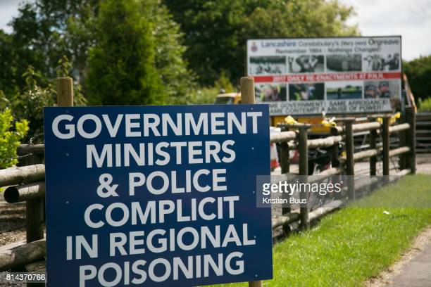 A sign put up by antifracking activists in New Preston Road July 01 2017 Lancashire United Kingdom Lancashire voted against permitting fracking but...
