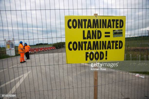 A sign put up by antifracking activists in the entrance to Quadrilla's drill site in New Preston Road June 30 2017 Lancashire United Kingdom The...