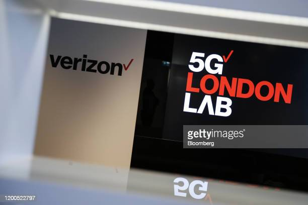 A sign reading 5G London Lab sits at Verizon Communications Inc's 5G tech showroom and production studio in London UK on Wednesday Feb 12 2020 The...