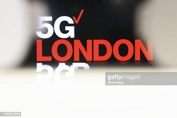 A sign reading 5G London sits at Verizon Communications Inc's 5G tech showroom and production studio in London UK on Wednesday Feb 12 2020 The...
