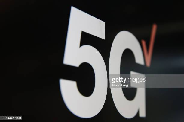 A sign reading 5G sits at Verizon Communications Inc's 5G tech showroom and production studio in London UK on Wednesday Feb 12 2020 The socalled lab...