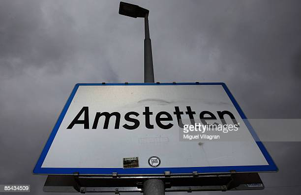 A sign reading Amstetten is pictured next to a street at the entrance of the city of Amstetten where Josef Fritzl imprisoned his daughter in a cellar...
