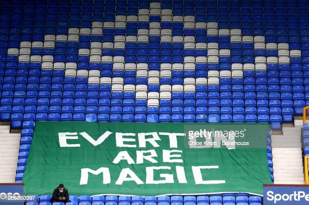 A sign reading Everton are magic can be seen in the stadium during the Premier League match between Everton FC and Southampton FC at Goodison Park on...