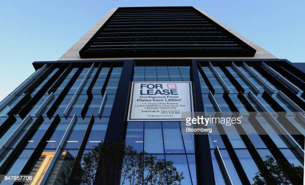 A sign reading 'for lease' is displayed outside a commercial property in the central business district of Perth Australia on Wednesday April 11 2018...