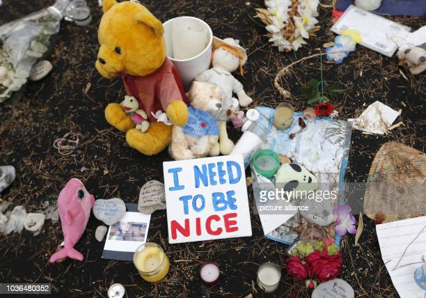 A sign reading 'I need to be Nice' lies next to plush toys and candles on the 'Promenade des Anglais' in Nice France 14 September 2016 A 31yearold...