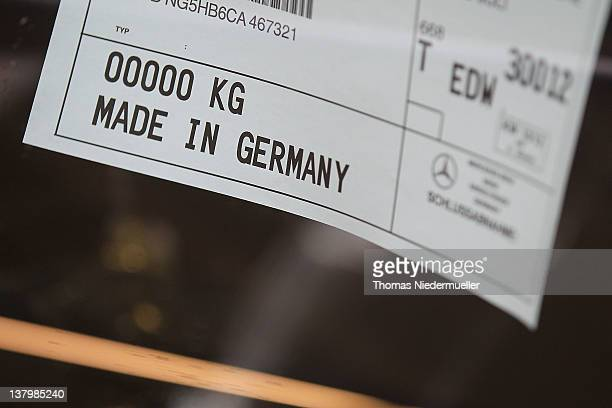 A sign reading Made in Germany is seen on a Daimler AG MercedesBenz Sclass automobile along the production line inside the company's factory on...