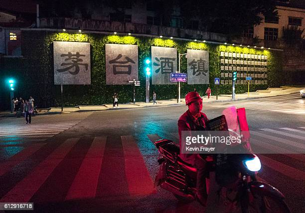A sign reading 'Maotai Liquor Town' is seen on a street on the Chishui River on September 22 2016 in MaotaiGuizhou province China Distillers in the...