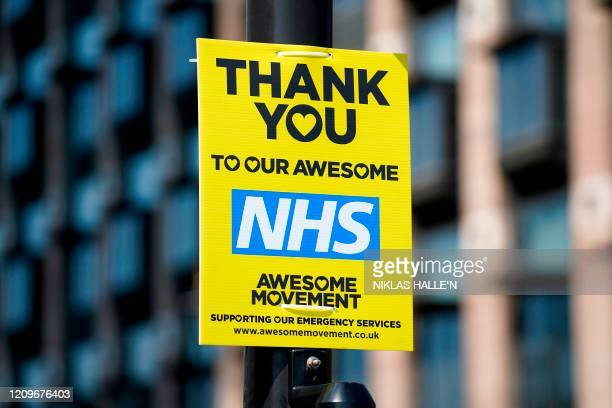 A sign reading Thank you to our awsome NHS showing appreciation for the workers of Britian's National Health Service is pictured on a lamppost in...