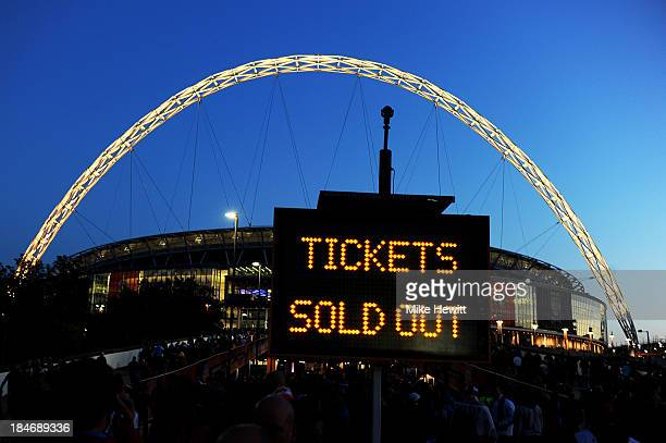 A sign reading 'tickets sold out' is displayed prior to the FIFA 2014 World Cup Qualifying Group H match between England and Poland at Wembley...