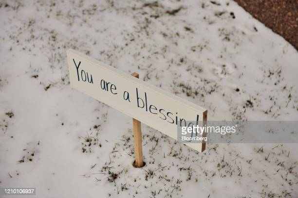 A sign reading Your Are A blessing is displayed outside the Sanford Health USD Medical Center in Sioux Falls South Dakota US on Wednesday April 15...