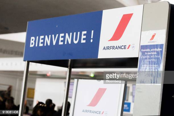 A sign reads 'Bienvenue' at the Air FranceKLM Group checkin area at Charles de Gaulle airport operated by Aeroports de Paris in Paris France on...