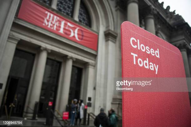 "Sign reads ""Closed Today"" in front of the Metropolitan Museum of Art in New York, U.S., on Friday, March 13, 2020. President Donald Trump plans to..."