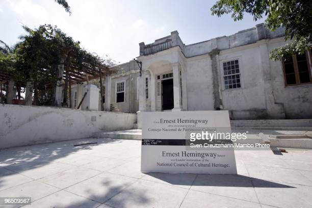 A sign reads Ernest Hemingway house work under construction of the National Council of Cultural Heritage at the Finca Vigia on March 29 2006 in...