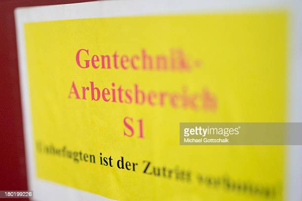 A sign reads 'Genetic Engineering Workspace No unauthorized access' in the institute of biology of Humboldt University of Berlin on September 04 2013...